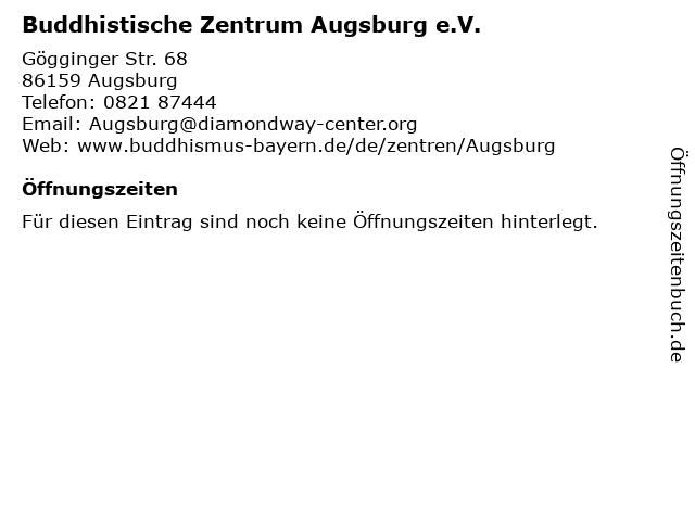 Buddhistische Zentrum Augsburg e.V. in Augsburg: Adresse und Öffnungszeiten