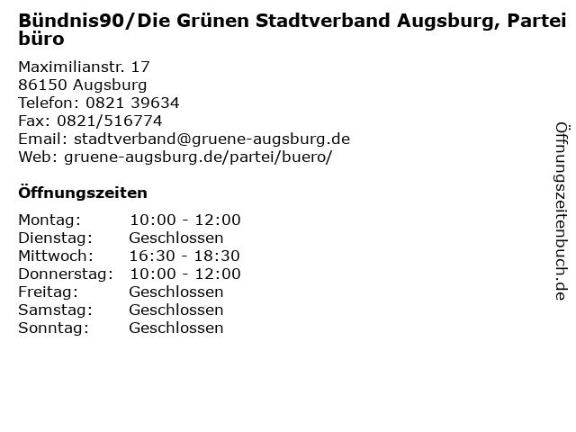 Bündnis90/Die Grünen Stadtverband Augsburg, Parteibüro in Augsburg: Adresse und Öffnungszeiten