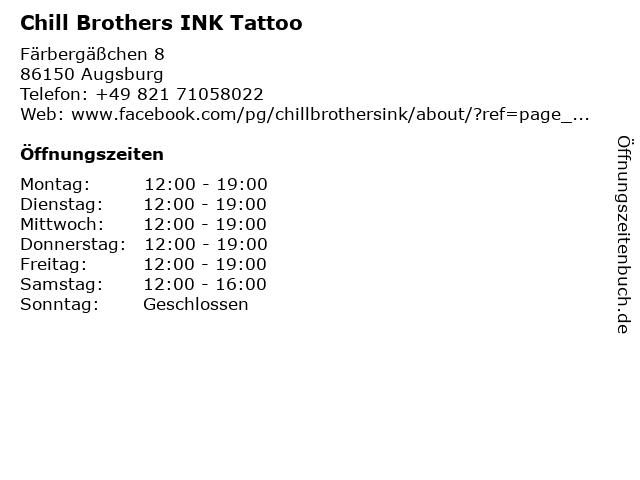 Chill Brothers INK Tattoo in Augsburg: Adresse und Öffnungszeiten