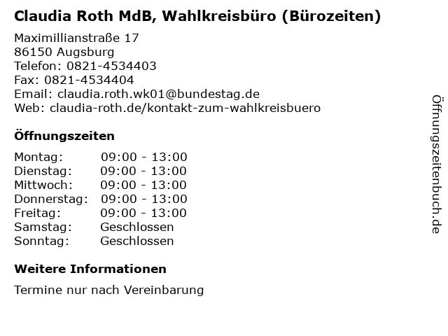 Claudia Roth MdB, Wahlkreisbüro (Bürozeiten) in Augsburg: Adresse und Öffnungszeiten