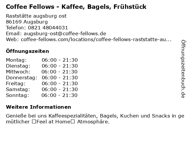 Coffee Fellows in Augsburg: Adresse und Öffnungszeiten