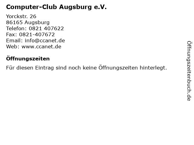 Computer-Club Augsburg e.V. in Augsburg: Adresse und Öffnungszeiten
