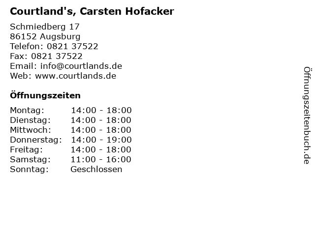 Courtland's, Carsten Hofacker in Augsburg: Adresse und Öffnungszeiten