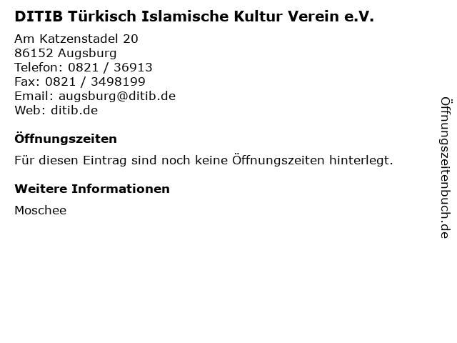 DITIB Türkisch Islamische Kultur Verein e.V. in Augsburg: Adresse und Öffnungszeiten