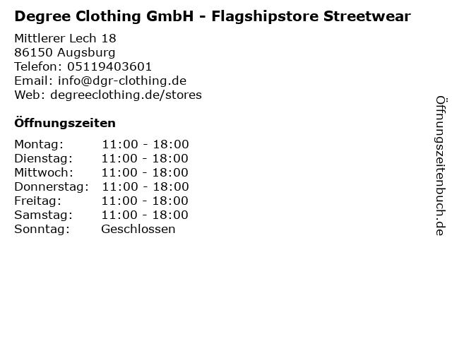 Degree Clothing GmbH - Flagshipstore Streetwear in Augsburg: Adresse und Öffnungszeiten
