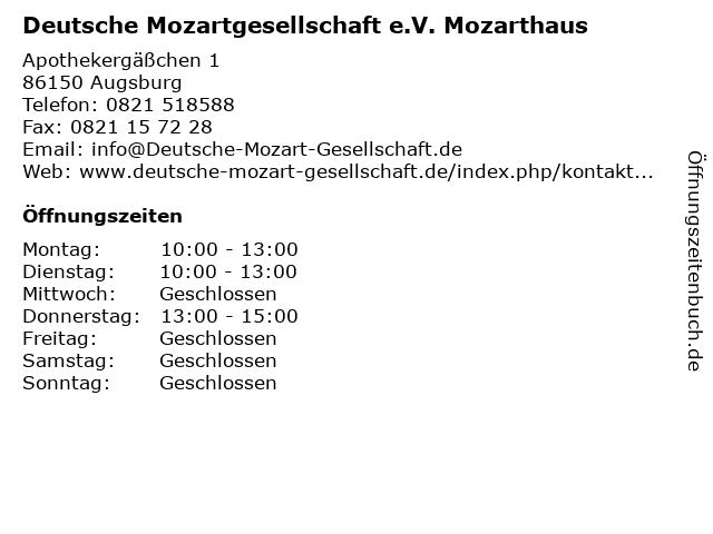 Deutsche Mozartgesellschaft e.V. Mozarthaus in Augsburg: Adresse und Öffnungszeiten