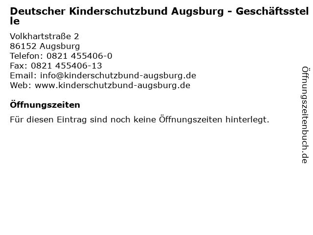 Deutscher Kinderschutzbund Augsburg - Geschäftsstelle in Augsburg: Adresse und Öffnungszeiten