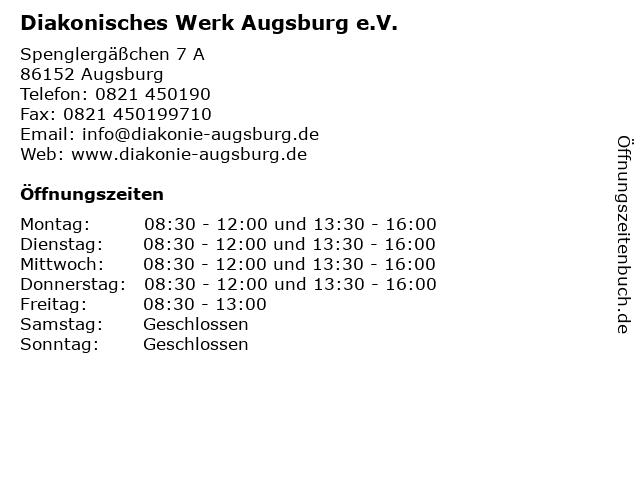 Diakonisches Werk Augsburg e.V. in Augsburg: Adresse und Öffnungszeiten