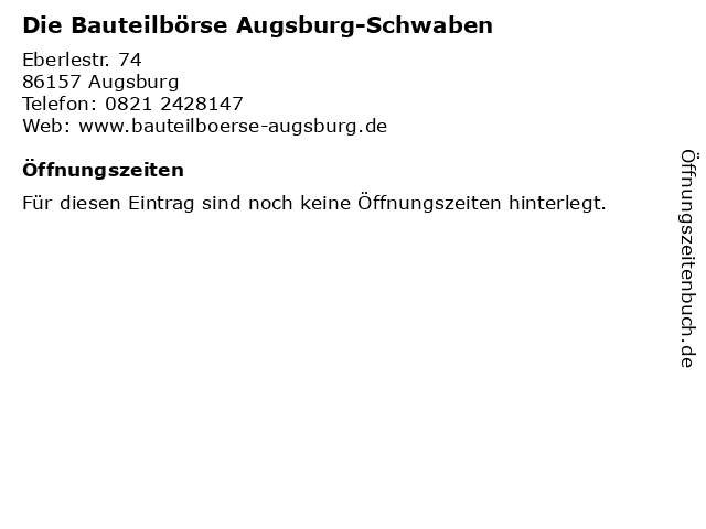 Die Bauteilbörse Augsburg-Schwaben in Augsburg: Adresse und Öffnungszeiten