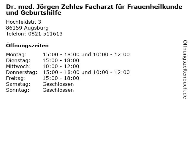 Dr. med. Jörgen Zehles Facharzt für Frauenheilkunde und Geburtshilfe in Augsburg: Adresse und Öffnungszeiten