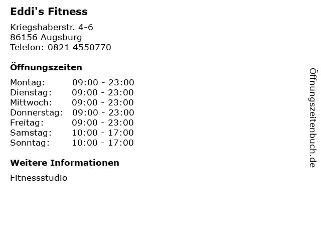 Eddi's Fitness in Augsburg: Adresse und Öffnungszeiten