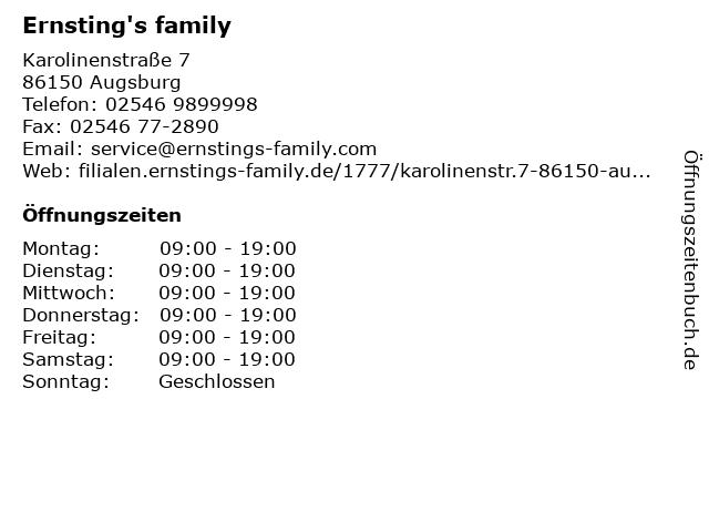 Ernsting's family in Augsburg: Adresse und Öffnungszeiten