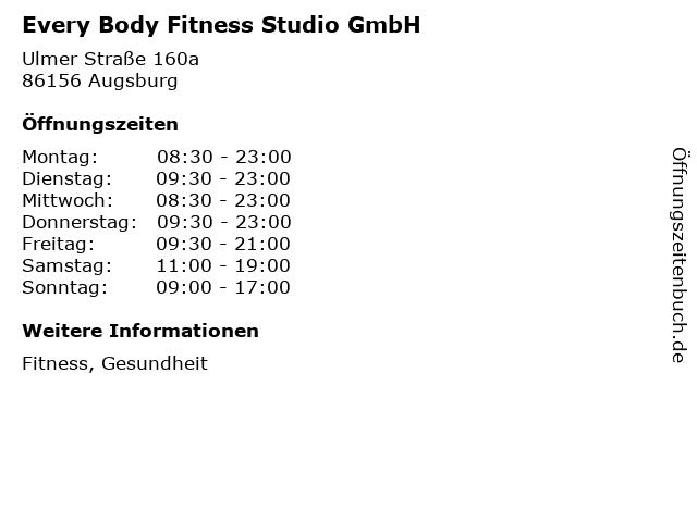 Every Body Fitness Studio GmbH in Augsburg: Adresse und Öffnungszeiten