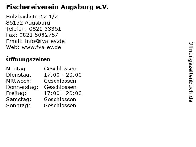 Fischereiverein Augsburg e.V. in Augsburg: Adresse und Öffnungszeiten