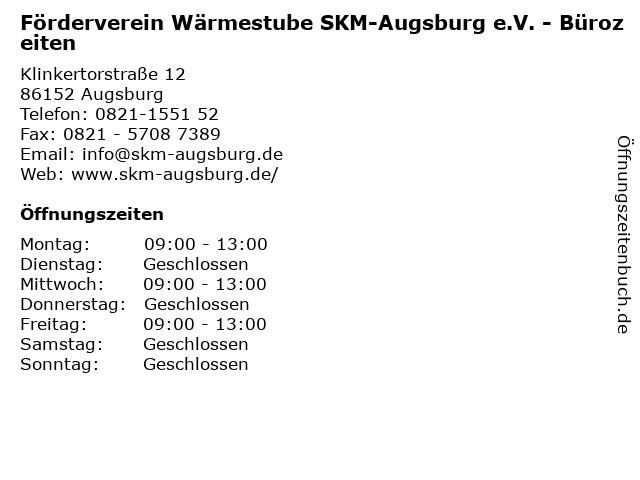 Förderverein Wärmestube SKM-Augsburg e.V. - Bürozeiten in Augsburg: Adresse und Öffnungszeiten