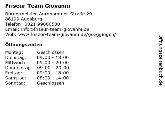 Friseur Team Giovanni in Augsburg: Adresse und Öffnungszeiten