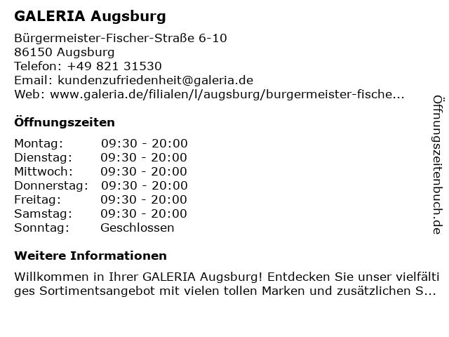 GALERIA (Karstadt) Augsburg in Augsburg: Adresse und Öffnungszeiten