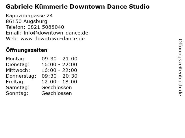 Gabriele Kümmerle Downtown Dance Studio in Augsburg: Adresse und Öffnungszeiten