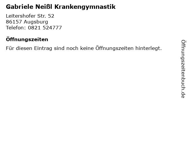 Gabriele Neißl Krankengymnastik in Augsburg: Adresse und Öffnungszeiten