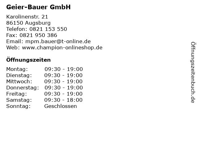 Geier-Bauer GmbH in Augsburg: Adresse und Öffnungszeiten