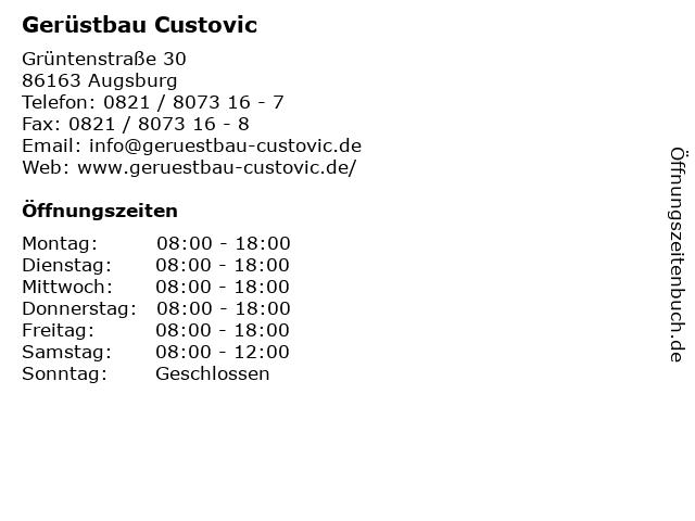 Gerüstbau Custovic in Augsburg: Adresse und Öffnungszeiten