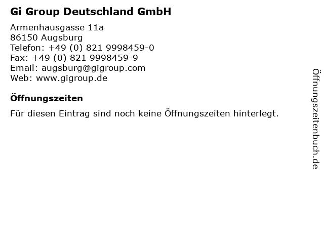 Gi Group Deutschland GmbH in Augsburg: Adresse und Öffnungszeiten