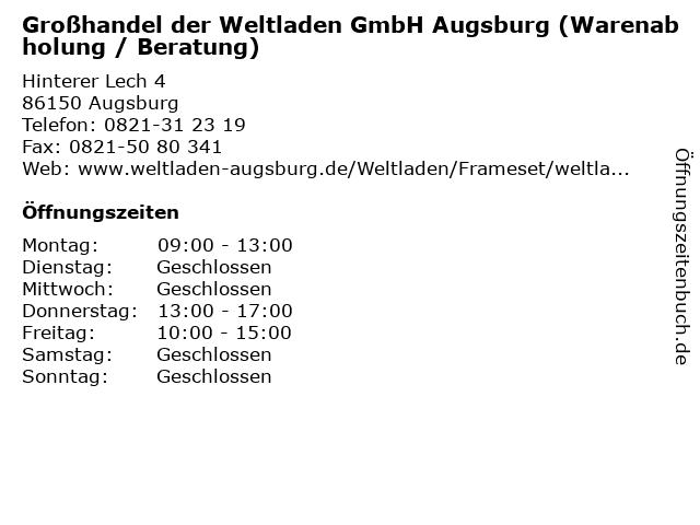 Großhandel der Weltladen GmbH Augsburg (Warenabholung / Beratung) in Augsburg: Adresse und Öffnungszeiten