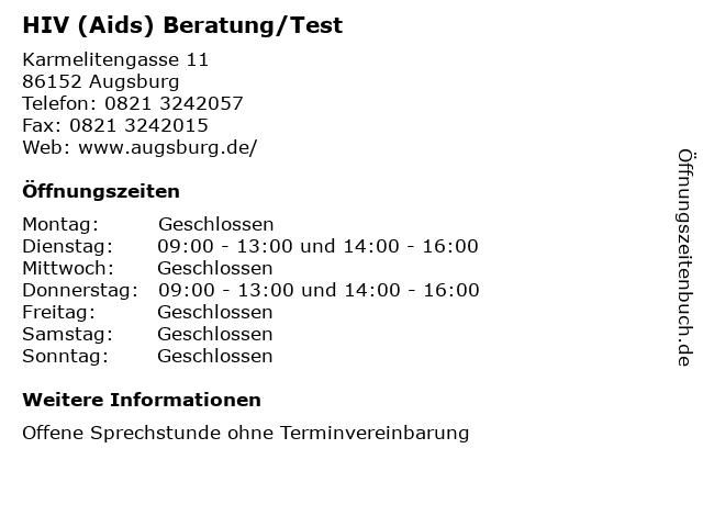HIV (Aids) Beratung/Test in Augsburg: Adresse und Öffnungszeiten