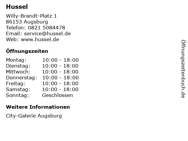 HUSSEL Süßwaren Fachgeschäfte GmbH in Augsburg: Adresse und Öffnungszeiten