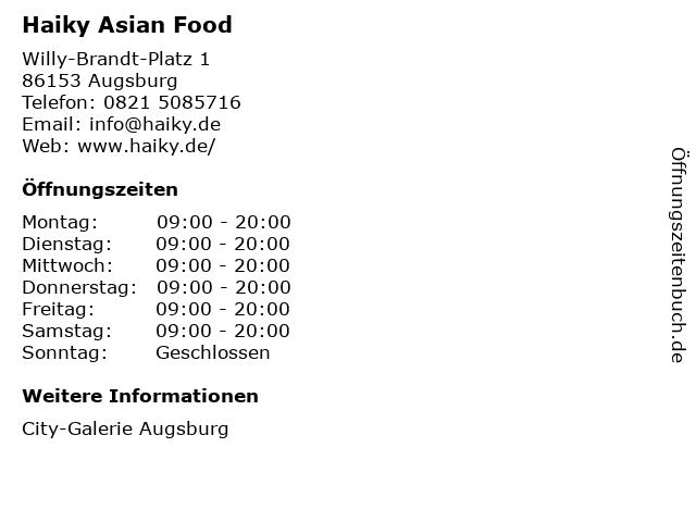 Haiky Asian Food in Augsburg: Adresse und Öffnungszeiten