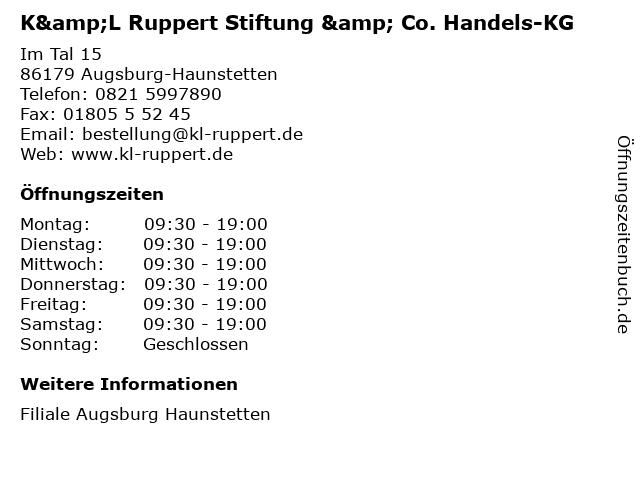 K&L Ruppert Stiftung & Co. Handels-KG in Augsburg-Haunstetten: Adresse und Öffnungszeiten