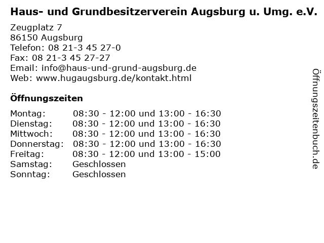 Haus- und Grundbesitzerverein Augsburg u. Umg. e.V. in Augsburg: Adresse und Öffnungszeiten
