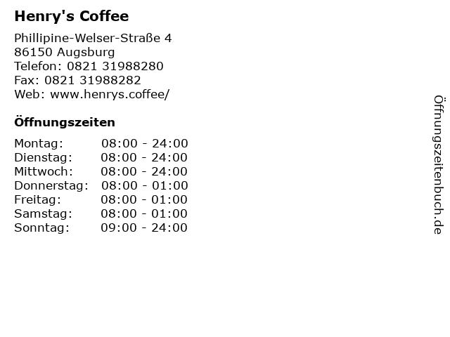 Henry's Coffee in Augsburg: Adresse und Öffnungszeiten