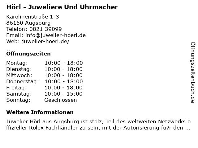Hörl - Juweliere und Uhrmacher - Montblanc Boutique in Augsburg: Adresse und Öffnungszeiten
