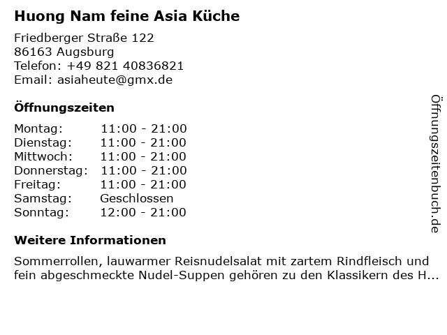 Huong Nam feine Asia Küche in Augsburg: Adresse und Öffnungszeiten