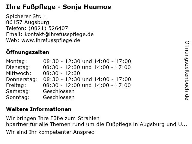 Ihre Fußpflege - Sonja Heumos in Augsburg: Adresse und Öffnungszeiten