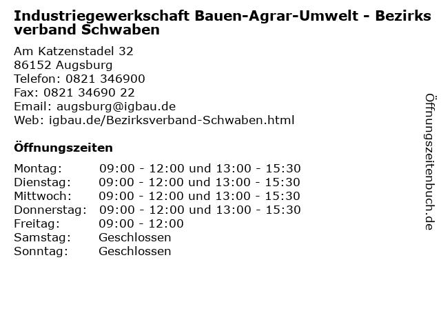 Industriegewerkschaft Bauen-Agrar-Umwelt - Bezirksverband Schwaben in Augsburg: Adresse und Öffnungszeiten