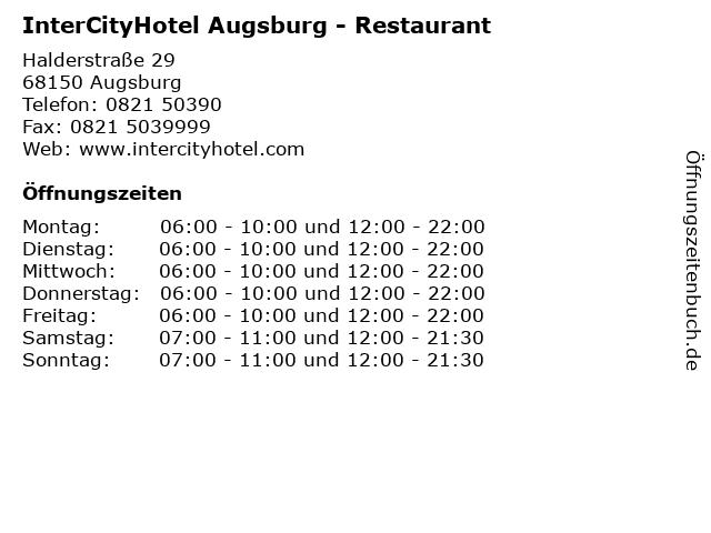 InterCityHotel Augsburg - Restaurant in Augsburg: Adresse und Öffnungszeiten