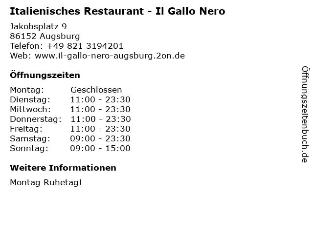 Italienisches Restaurant - Il Gallo Nero in Augsburg: Adresse und Öffnungszeiten