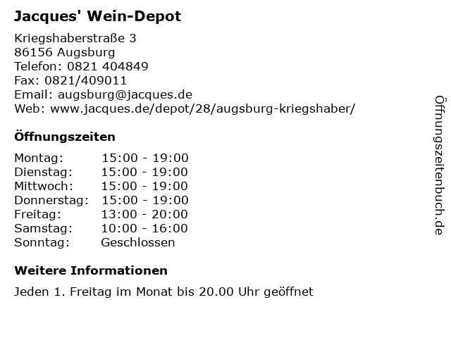 Jacques' Wein-Depot in Augsburg: Adresse und Öffnungszeiten