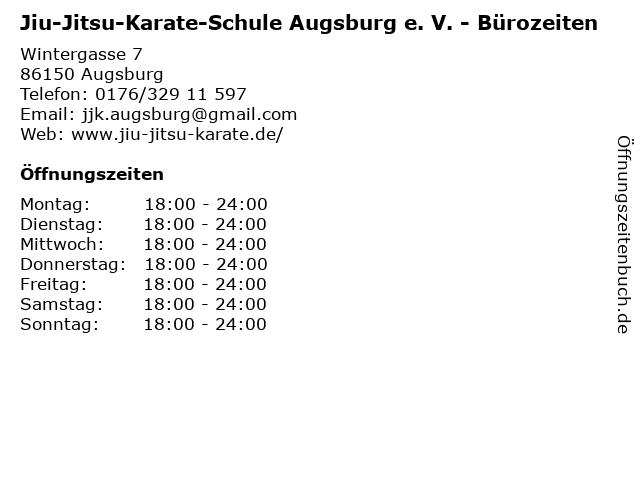 Jiu-Jitsu-Karate-Schule Augsburg e. V. - Bürozeiten in Augsburg: Adresse und Öffnungszeiten