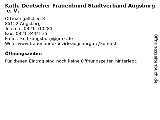 Kath. Deutscher Frauenbund Stadtverband Augsburg e. V. in Augsburg: Adresse und Öffnungszeiten