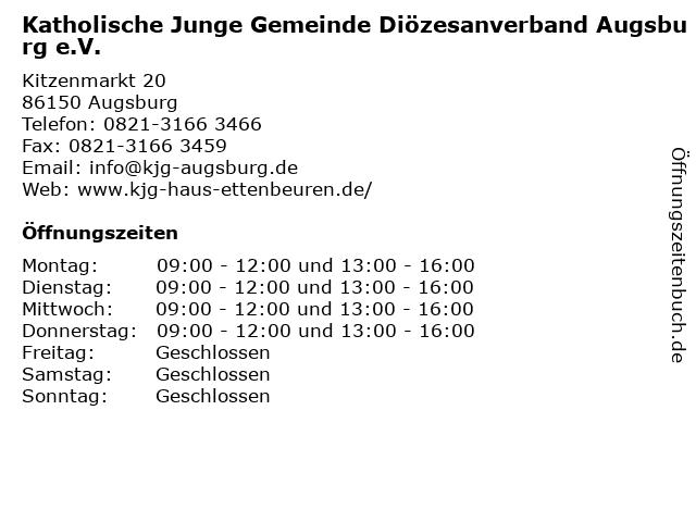 Katholische Junge Gemeinde Diözesanverband Augsburg e.V. in Augsburg: Adresse und Öffnungszeiten