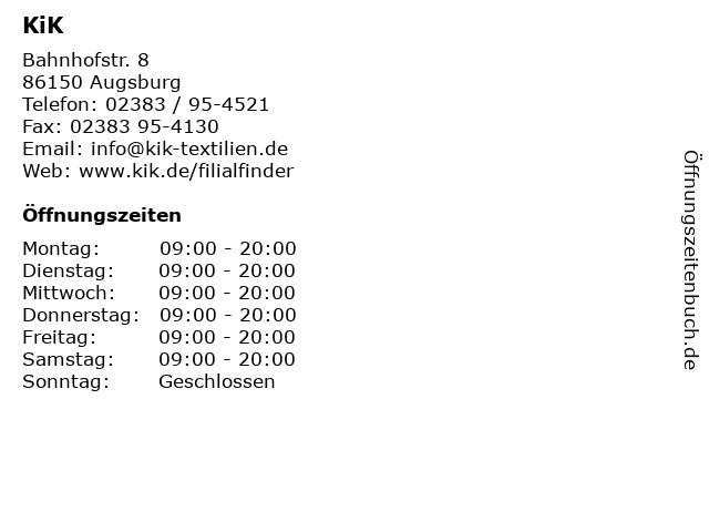 KiK Textilien und Non-Food GmbH in Augsburg: Adresse und Öffnungszeiten