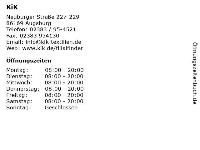 KiK in Augsburg: Adresse und Öffnungszeiten