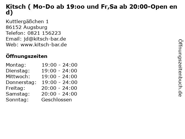 Kitsch ( Mo-Do ab 19:oo und Fr,Sa ab 20:00-Open end) in Augsburg: Adresse und Öffnungszeiten