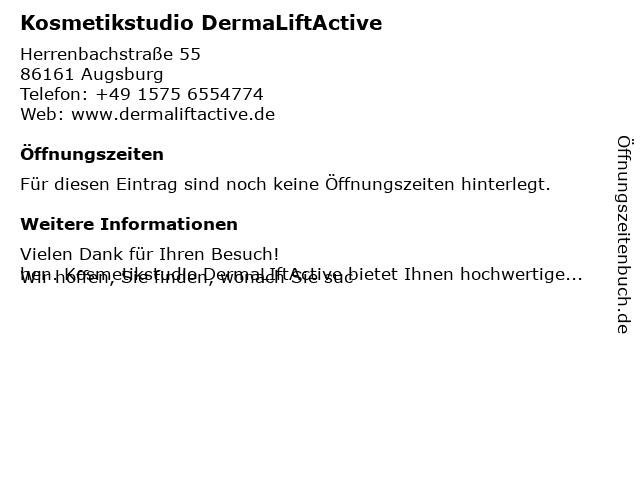 Kosmetikstudio DermaLiftActive in Augsburg: Adresse und Öffnungszeiten