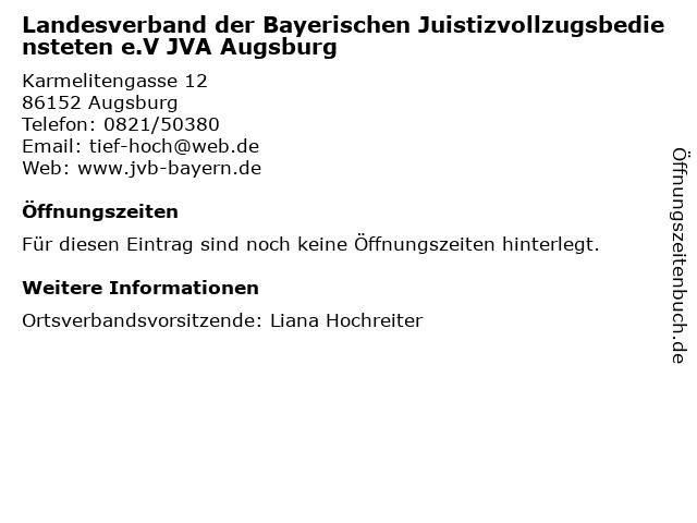 Landesverband der Bayerischen Juistizvollzugsbediensteten e.V JVA Augsburg in Augsburg: Adresse und Öffnungszeiten