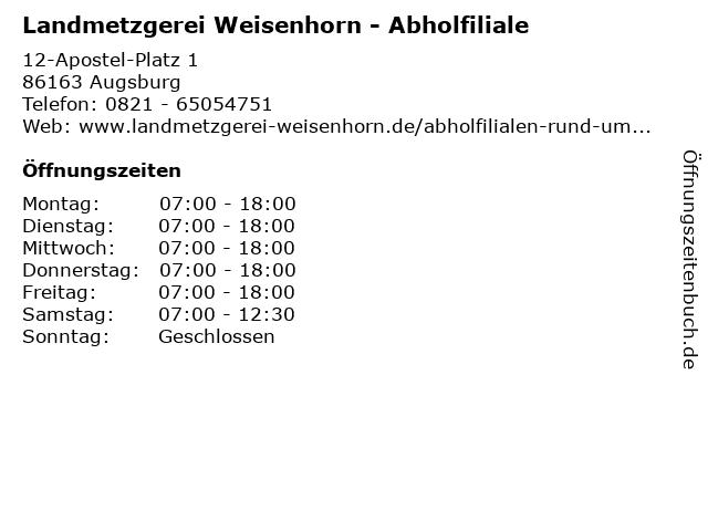 Landmetzgerei Weisenhorn - Abholfiliale in Augsburg: Adresse und Öffnungszeiten