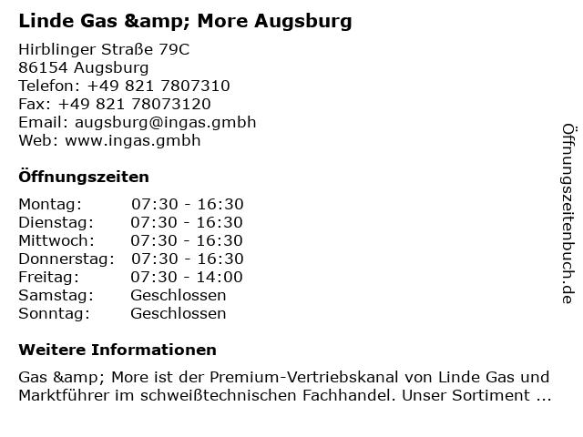 Linde Gas & More Augsburg in Augsburg: Adresse und Öffnungszeiten